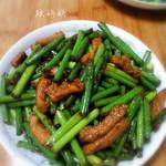 政妈妈蒜苔炒肉丝的做法