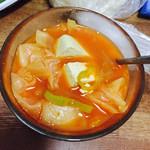 白棉花糖韩式辣白菜豆腐汤的做法