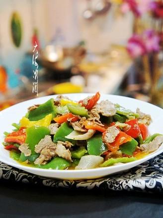 彩椒炒肉片的做法