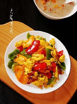 彩椒炒鸭蛋的做法