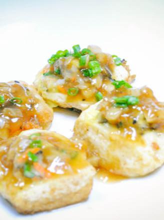 虾仁香菇豆腐酿的做法