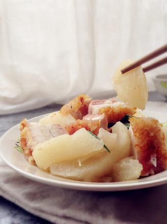 柚皮焖烧腩肉的做法