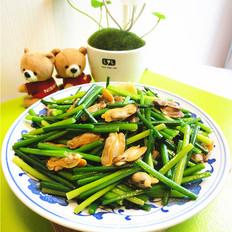 韭菜苔炒蚌肉