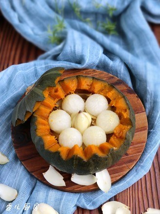 南瓜蜜梨蒸百合的做法
