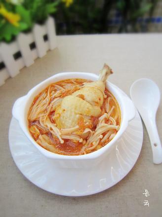 金针菇泡菜鸡腿汤