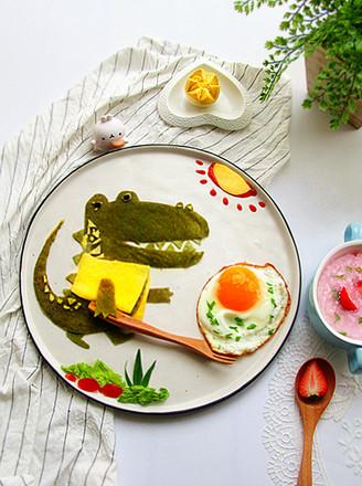 春饼巧做鳄鱼趣味餐的做法