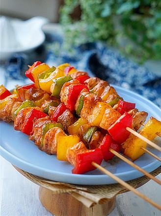 烤彩椒鸡肉串的做法