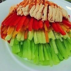 彩蔬鸡脯#丘比沙拉汁#
