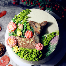 月下森林立体奶油霜裱花蛋糕#樱花味道#