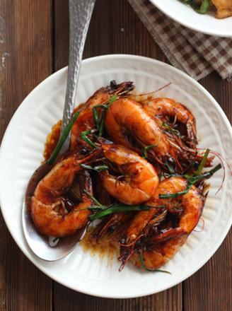 香葱红汁虾的做法