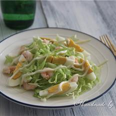 虾仁鸡蛋卷心菜沙拉