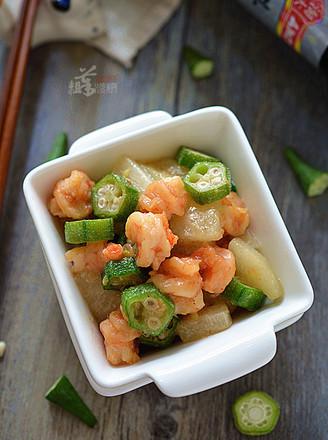 香梨秋葵炒虾仁的做法
