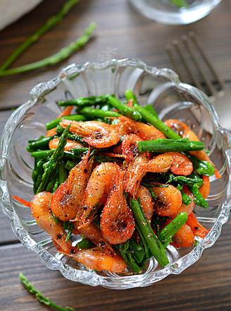 芦笋花炒小河虾的做法
