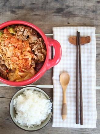 韩式泡菜牛肉锅的做法