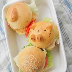 萌萌哒迷你卡通猫咪汉堡包