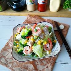 蔬菜海鲜沙拉#丘比沙拉汁#