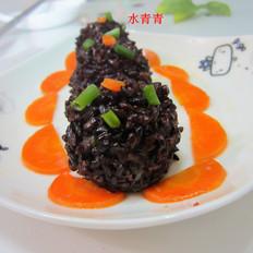 萝卜肉泥黑米丸子