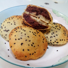 烤豆沙芝麻饼