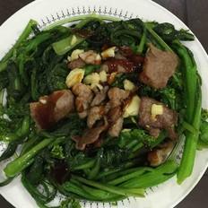 蚝油瘦肉菜心