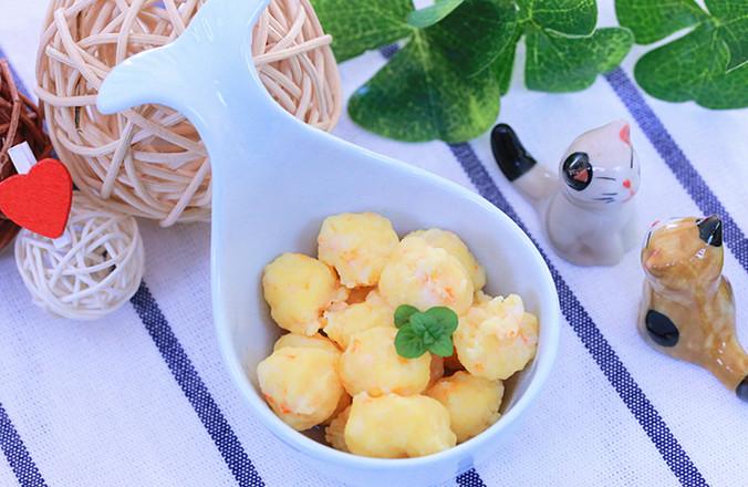 蛋黄虾滑 宝宝辅食食谱的做法