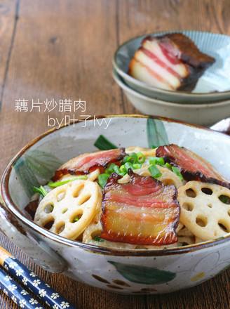 腊肉炒藕片的做法