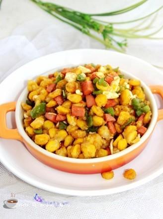 玉米粒炒火腿丁的做法