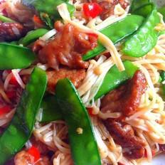 肉片金针菇炒荷兰豆