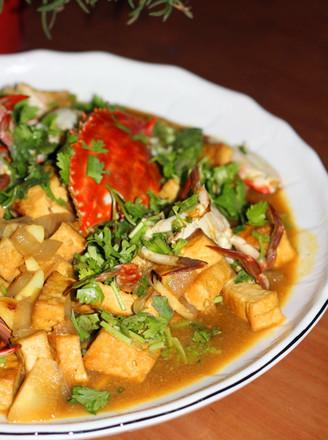 葱豆腐咖喱蟹的做法