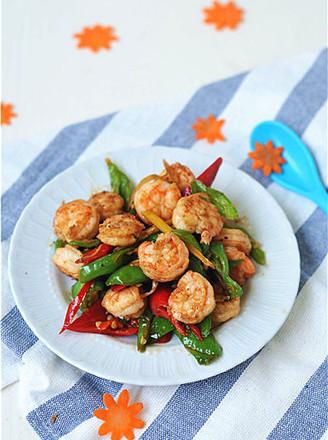 青红椒炒虾仁的做法