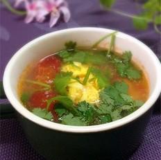 西红柿香菜蛋汤