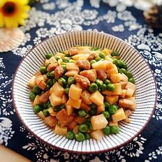 豌豆杏鲍菇炒肉丁#晚餐#