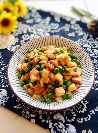 豌豆杏鲍菇炒肉丁#晚餐#的做法