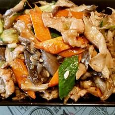 肉炒平菇菜谱杰海蛎v平菇美食味道煲的紫菜图片