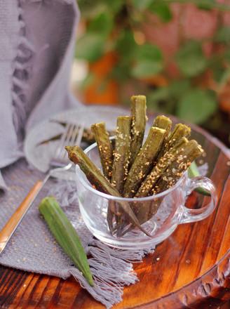 芝麻盐烤秋葵的做法