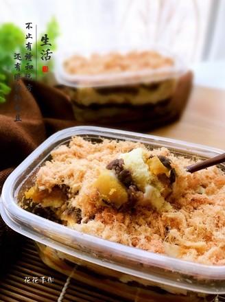 芋泥麻薯肉松便当的做法