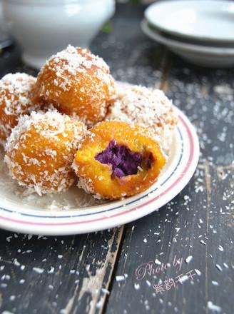 广东椰蓉紫薯南瓜球的做法