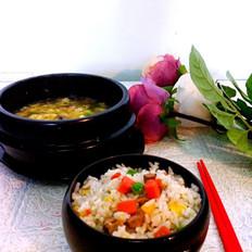葱油杂蔬香肠炒饭