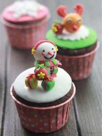圣诞萌宠翻糖纸杯蛋糕
