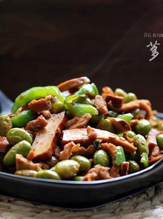 香干毛豆炒肉丝的做法