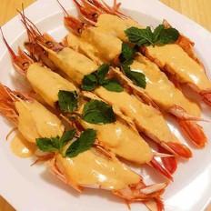 泰式咖喱椰香大红虾(健康无油)