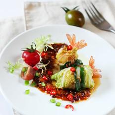鲜虾菜卷#美的微波炉#