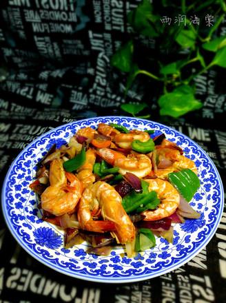 青椒洋葱虾的做法