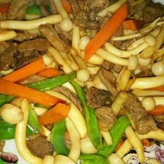 平菇炒菜谱白菜杰美食v平菇荷兰豆炒烟熏肉图片