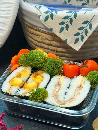 肉松咸蛋黄和火腿培根便当的做法