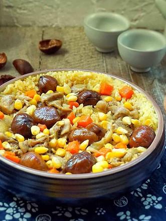 板栗咖喱鸡肉蒸饭的做法