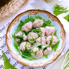 生汆肉丸青菜汤