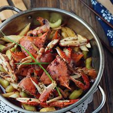 时蔬干锅蟹