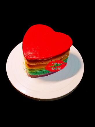 彩色心形蛋糕胚的做法