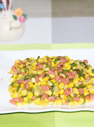 火腿青椒玉米粒的做法