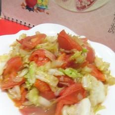 圆白菜炒番茄